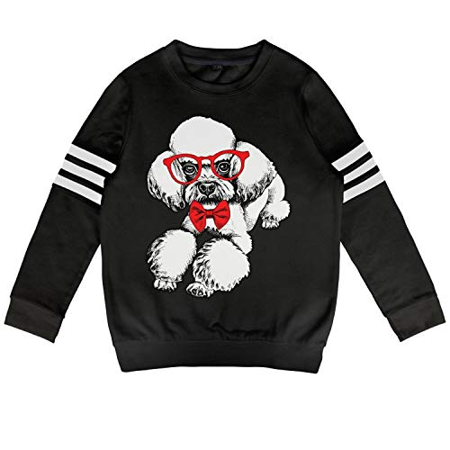 (Kids Cute Poodle Dog Love Bow Tie Pink Kids Black Fleece for Girls Boys Funny Outfit)