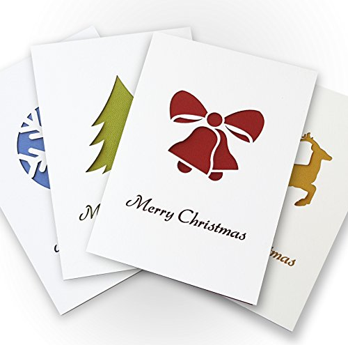 Cool Cards Merry Christmas Greeting Cards Collection-4 Stylized Decorative Cards and Envelopes, Blank Inside, Festive Traditional Holiday Paper Cut Designs-Reindeer/Snowflake/Pine Tree/Jingle Bells