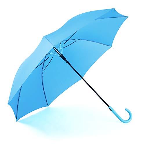 RUMBRELLA Blue Umbrella Auto Open with J Hook Handle, 50IN Stick Umbrellas Windproof