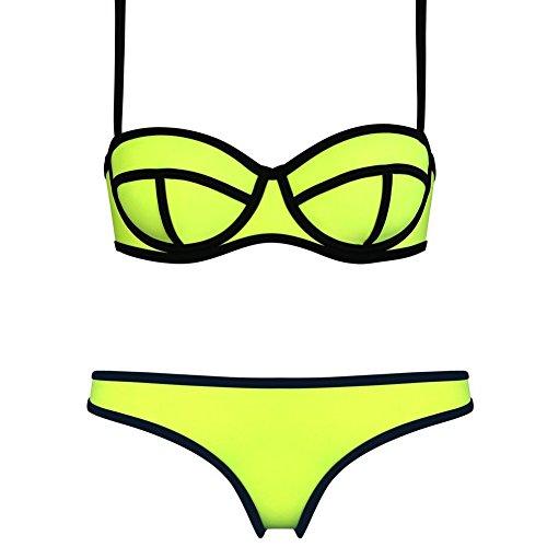 SOTW Push up Bright Diving Suit Neoprene Padded Swimsuit Bikini Set Swimwear, Yellow, M