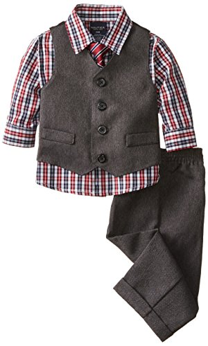 Nautica Baby Boys' Heather Herringbone Vest Set, Dark Grey,