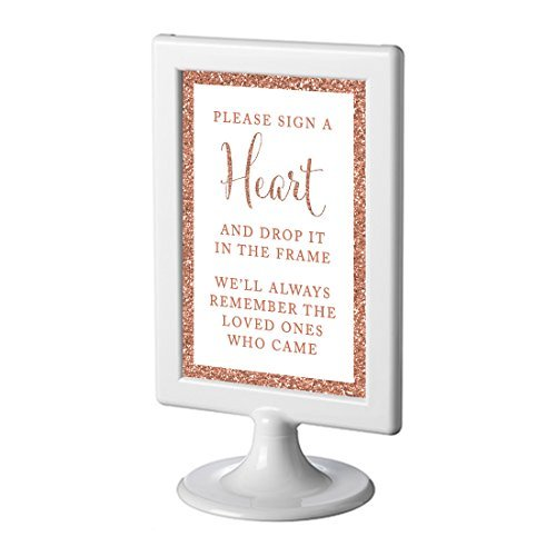 (Andaz Press Framed Wedding Party Signs, Rose Gold Glitter, 4x6-inch, Please Sign a Heart and Drop It In the Frame, We'll Always Remember the Loved Ones Who Came, 1-Pack, Copper Colored Decorations)