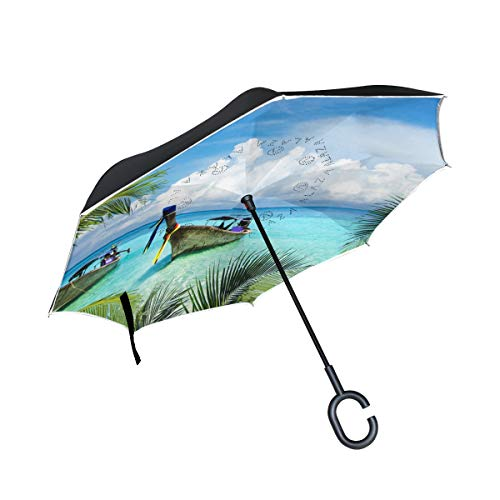 Ladninag Reverse Umbrella Tropical Beach Island Coconut Trees Inverted Umbrella Reversible for Golf Car Travel Rain Outdoor Black
