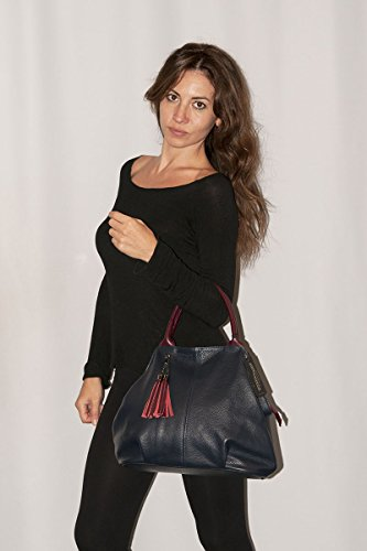 Italy Donna BORDERLINE Vera Pelle 100 Cipria da Made Borsa GIADA in in TwCtxY