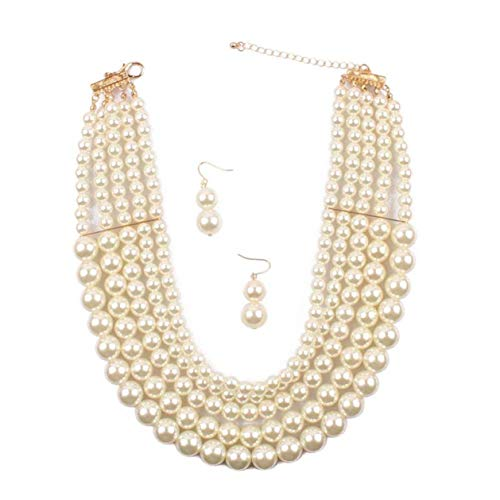 Lanue Women Elegant Jewelry Set Multi Strand 5 Layer Pearl Bead Cluster Collar Bib Choker Necklace and Earrings Suit (White) ()