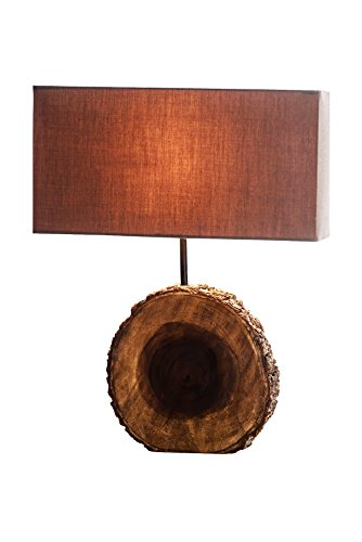 NPD O'THENTIQUE Rustic Tree Bark Table Lamp | Earthy Unfinished Natural Wood | Brown Shade Perfect as Entry Table Lamp, Sofa Table Lamp for Beach House, Cottage, Cabin, Bedroom, Living Room (Bedroom Unfinished Nightstand)