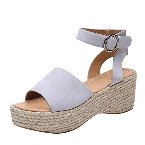 Toimothcn Womens Casual Espadrilles Trim Rubber Sole Flatform Studded Wedge Buckle Ankle Strap Open Toe Sandals(Gray,US:6.5)