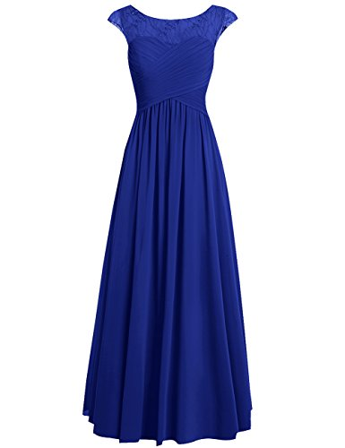Cdress Chiffon Bridesmaid Dresses Long Prom Evening Gowns Appliques Formal Party Dress Plus Size US 10 RoyalBlue ()