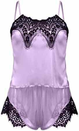 05eaed482fd2 ALLYOUNG Women's Sexy Satin Sling Sleepwear Lingerie Lace Nightdress  Underwear Set