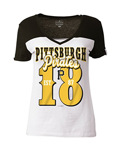 MLB Pittsburgh Pirates Women's Cotton Short Sleeve V-Neck Tee with High Low Hem, White, Large
