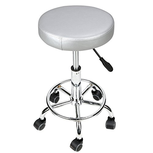 Circular Cushion Rolling Salon Work Stool Massage Barber Stool Hydraulic Circular Cushion Rolling Chair With Foot Rest(Gray) by Ian