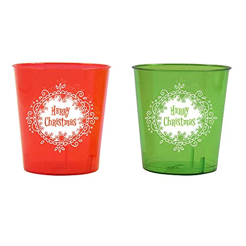 Shot Glasses For Christmas  1 Ounce  Durable Plastic  24 Count  12 Pieces Red 12 Pieces Green  Get Drunk With Tiny Shots Of Wine Whisky amp Other Alcoholic Drinks At A Xmas Party