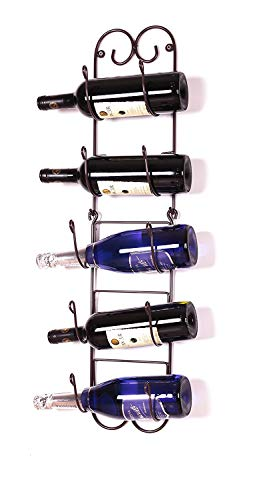 (Useful UH-TR221 Wall Mounted Towel and Wine Bottle Rack Holder, Holds 5 or 8 Bottles (Black))