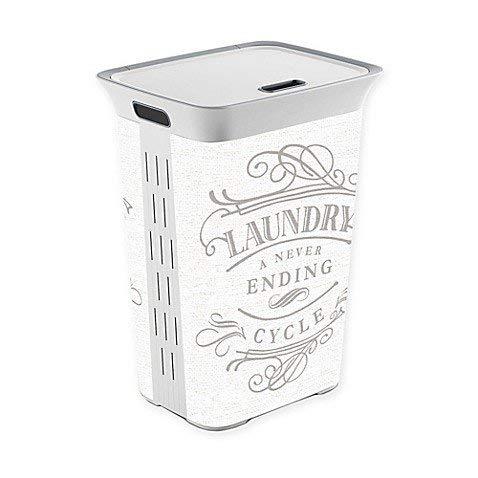 ランドリーA Never EndingサイクルLaundry Hamper with Lid、ホワイト B07CXCG91L
