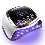 Gel UV LED Nail Lamp, 168W UV LED Nail Dryer for Gel Polish with 4 Timer Settings, Auto Sensor and LCD Touch Screen, Professional Gel Polish Light Curing Lamp for Salon and Home Use (Color: While and Black, Tamaño: 9.25X7.87X3.15