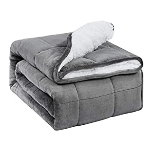 BUZIO Sherpa Fleece Weighted Blanket for Adult, 20 lbs Thick Fuzzy Bed Blanket with Soft Plush Flannel, Dual Sided Cozy Fluffy Blanket, 60 x 80 inches, Grey