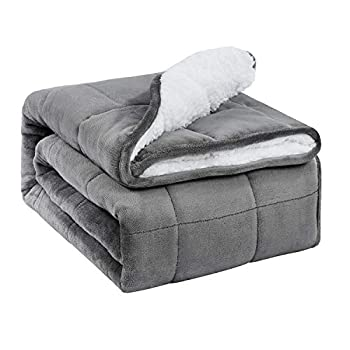 Image of BUZIO Sherpa Fleece Weighted Blanket for Adult, 15 lbs Heavy Fuzzy Throw Blanket with Soft Plush Flannel, Dual Sided Twin Size Cozy Fluffy Blanket, 48 x 72 inches, Grey BUZIO B07V3KXL7N Weighted Blankets