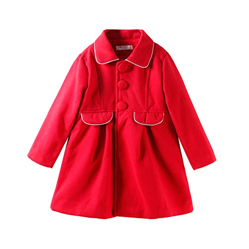 LittleSpring Little Girls Faux Wool Dress Coat Slim-Fit Red Size 6
