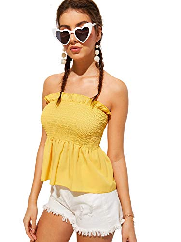 SheIn Women's Frill Strapless Ruffle Hem Pleated Bandeau Tube Peplum Top Blouse Small Yellow