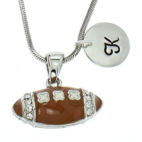 American Football Brown Enamel Ball Personalized Custom Necklace Sparkling Clear Crystal Pendant Chain Hand Stamped Initial Letter Silver Round Customizable Charm Gift Jewelry