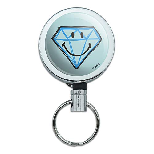 Smiley Smile Diamond Engagement Face Heavy Duty Metal Retractable Reel ID Badge Key Card Tag Holder with Belt Clip