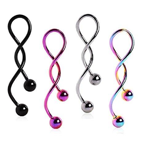 (4PCS) Steel,Purple,Rainbow,Black Spiral Navel Rings 14G 5mm - Spiral Ring Navel
