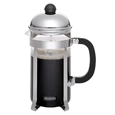 BonJour Coffee Stainless Steel French Press with Glass Carafe, 33.8-Ounce, Monet, Black Handle