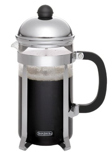 - BonJour Coffee Stainless Steel French Press with Glass Carafe, 33.8-Ounce, Monet, Black Handle