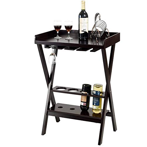 Giantex 3-in-1 Wine Rack Wooden Wine Stand Display Shelf Bar Serving Tray w/Wine Bottle Storage, Glass Hanger & Wood Wine Holder
