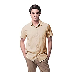 Men's Oxford Short Sleeve Button Down Casual Dress Shirt P-09X(S,Khaki)