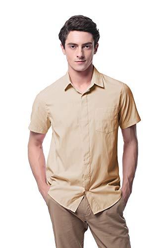 Men's Oxford Short Sleeve Button Down Casual Dress Shirt P-09X(XL,Khaki)]()