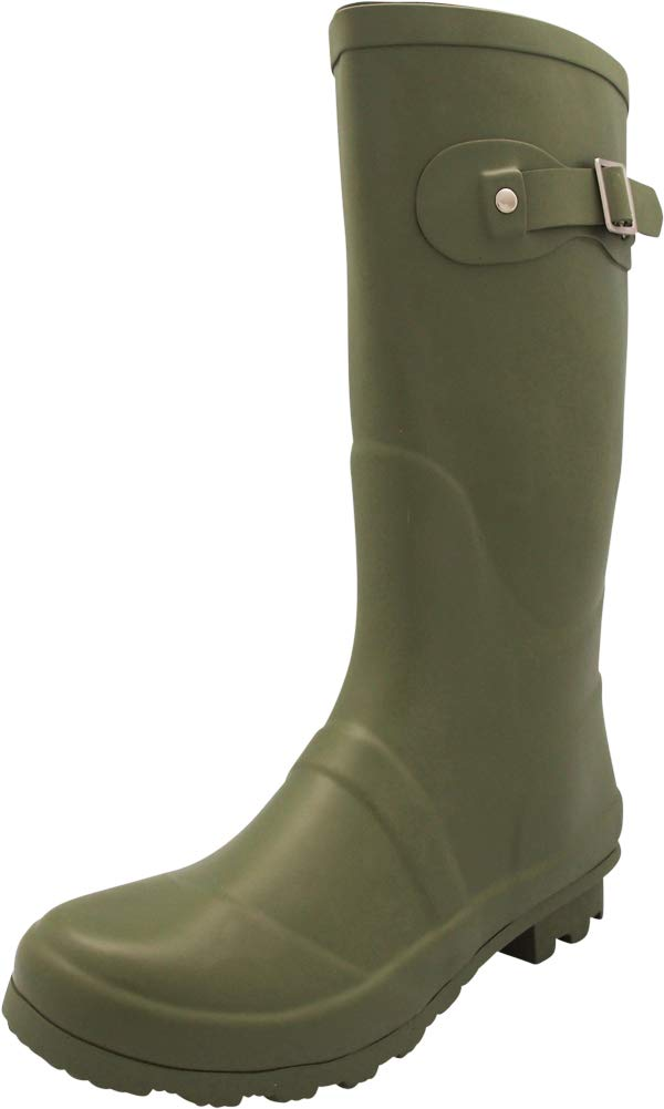NORTY - Womens Hurricane Wellie Solid Matte Mid-Calf Rain Boot, Olive 40706-6B(M) US