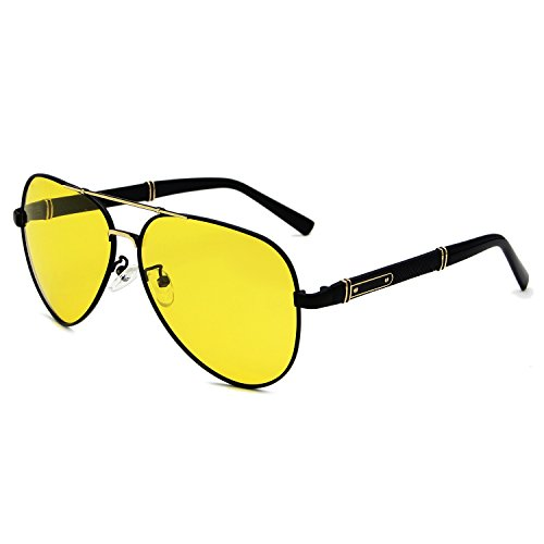 AMZTM Personality Oversized Luxury Top Quality Men Modern Polarized Aviator Rider Cycling Sunglasses Night Visual Reducing Glare Safe Sturdy Driving Glasses (Black Frame Gold Bridge Yellow Lens, - Oversized Aviator Yellow Sunglasses