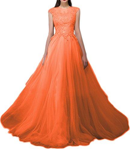 Applique Arancione Illusione Glamour Avril Abito Damigella Maniche Abito Tulle D'onore Pizzo Senza In Di qOAtZnF