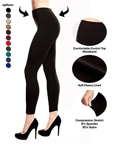 Stylish and Fit Body Women's Fleece Lined Leggings Slimming (Black)