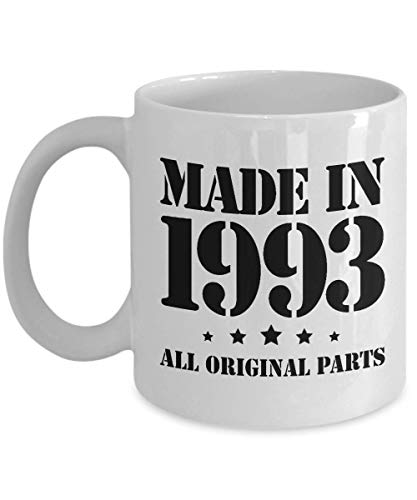 25th Birthday Gifts for Him - Made in 1993 - Happy 25 Year Old Black Coffee Mug - Unique from Mom Dad to Son Boys Boyfriend Nephew Brother