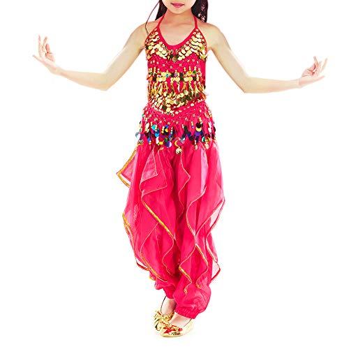 BellyLady Kid Belly Dance Costume, Harem Pants & Halter Top for Halloween-Rose red-L ()
