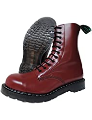 Solovair NPS Men´s Hand Made in England 11 Eye Cherry Red Steel Toe Boots