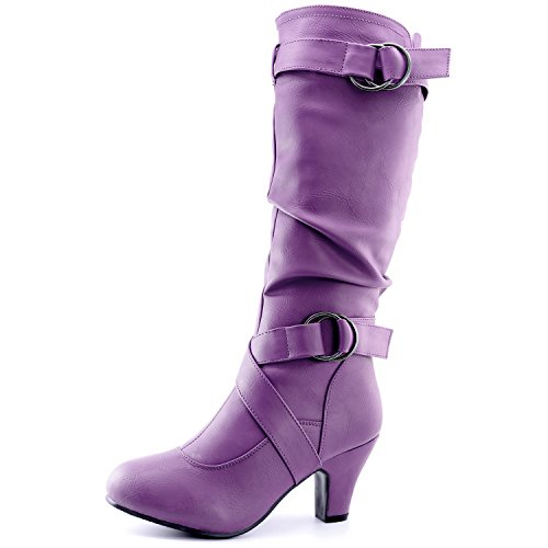 DailyShoes Ankle Straps Women's Mid Heel Pu Fashion Top Calf Boots Strappy Purple Boots 2