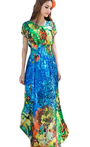 Drasawee Femmes En Mousseline De Soie Vacances Maxi Robe Plage Floral Bleu Robe D'été