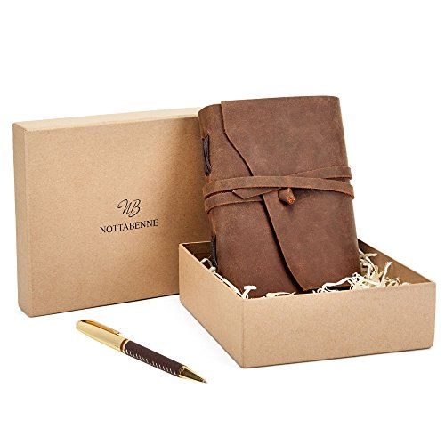 Leather Journal Premium Writing Notebook Leather Bound Daily Notepad for Men Women Unlined Paper Antique Vintage Handmade Best Gift for Art Sketchbook Travel Diary Soft Journals Notebook to Write (Handmade Drawing)