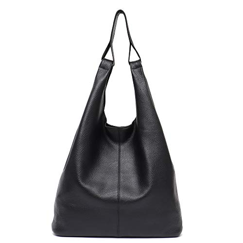 Women's Hobo Handbag STEPHIECATH Luxury Italian Genuine Leather Slouchy Shoulder Bag Large Casual Handmade Tote Vintage Style Bags(BLACK)