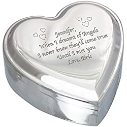 "GiftsForYouNow Engraved Silver Heart Jewelry Box, Personalized, 3 1/2"" L x 3 1/2"" W x 1 1/2"" H"