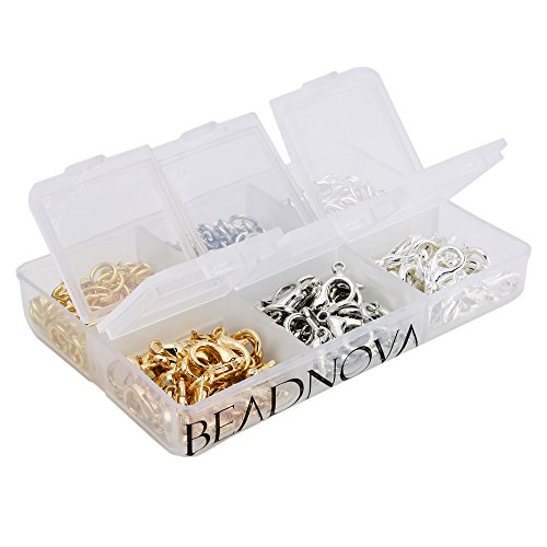 BEADNOVA 90pcs 10mm Silver/ Gold/ Rhodium Plated Lobster Claw Clasps and 300pcs 6mm Open Jump Ring for Jewelry Making Value Pack Box Set Assortment