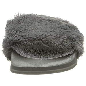APIKA Pantofola di pelliccia del Faux Flop delle donne Fuzzy Fluffy Comfy Sliders Aprire la punta Slip on