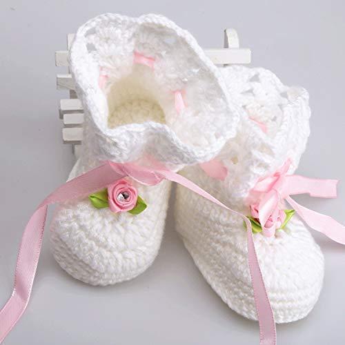 Crochet Baby Girl First Flip Flop Sandals White Newborn Pink Roses Handmade