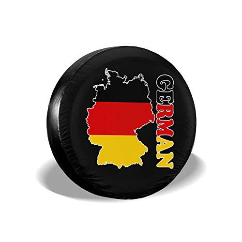 Ybdr94K@ Spare Tire Cover German Flag Map Waterproof Universal Wheel Tire Cover for Trailers, RV, SUV, Trucks and Many Vehicle, 14