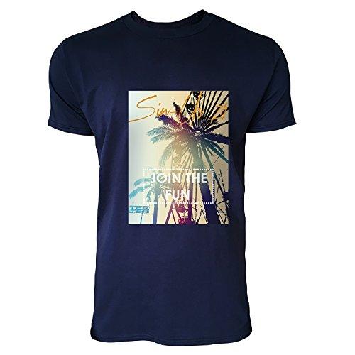 SINUS ART® Palmen mit Join The Fun Aufschrift Herren T-Shirts in Navy Blau Fun Shirt mit tollen Aufdruck