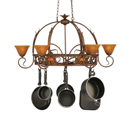 Leaf Lighted Pot Rack - Toltec Lighting 216-BRZ-509 Leaf Eight-Light Pot Rack with Eight-Hooks Bronze Finish with Tiger Glass, 7-Inch (Pots Not Included)