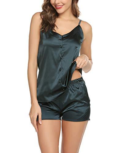 (Women's Sleepwear Sexy Lingerie Pajamas Short Satin PJ Camisole Set Nightwear Blue-XXL)